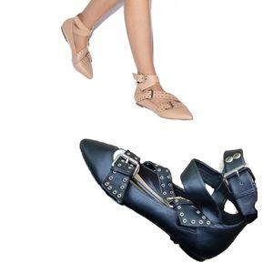 Shoedazzle New Silvy ankle strap flats